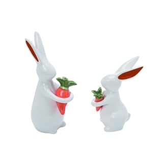Transpac Ceramic Small White Easter Chic Bunnies with Carrots Set of 2