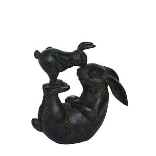 Transpac Resin  Black Spring Bunnies Playing Garden Statuette