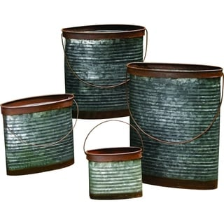 Transpac Metal  Silver Spring Rustic Containers Set of 4