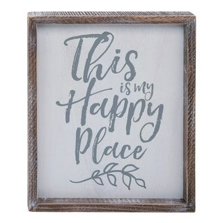 Transpac Wood  White Spring Encouraging Happy Place Word Wall Art Decor