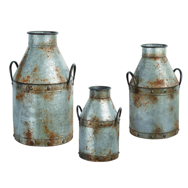 Transpac Metal Silver Spring Rustic Milk Can Containers Set of 3