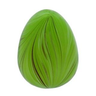 Transpac Glass Small Green Easter Swirled Egg Decor