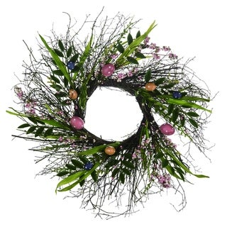 "Transpac Wood 24"" Brown Easter Bright Egg Wreath"