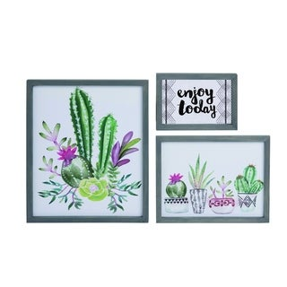 Transpac Wood  Multicolor Spring Succulent Wall Art Set of 3
