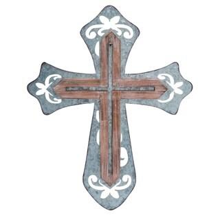 Transpac Metal  Brown Spring Rustic Embellished Cross
