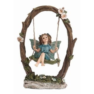 Transpac Resin  Brown Spring Fairy on Swing Figurine