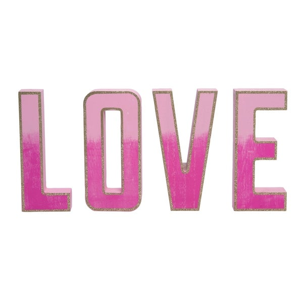 Transpac Wood Pink Valentines Day Ombre Glitter LOVE Word Blocks Set of 4