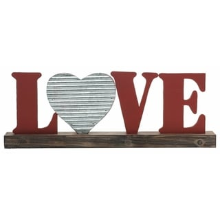 Transpac Wood  Red Valentines Day Love Word Block Decor