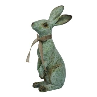 Transpac MGO Large Gray Easter Rustic Standing Bunny Statuette