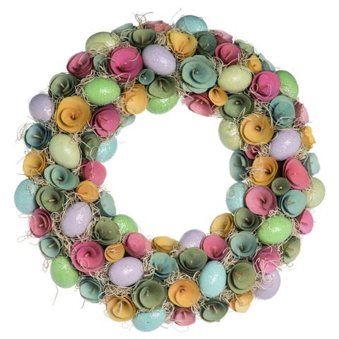 Transpac Foam Multicolor Easter Rosette Egg Wreath