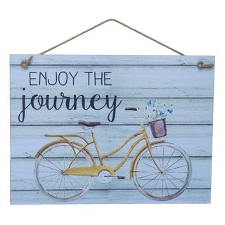 Transpac Wood  White Spring Enjoy the Journey Distressed Wall Art