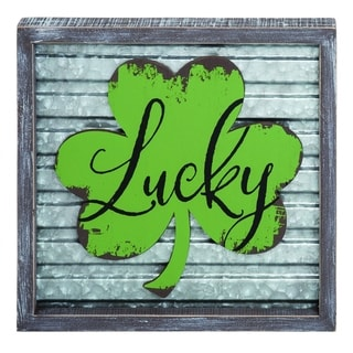 Transpac Wood  Green St. Patrick's Day Corrugated Lucky Frame Decor