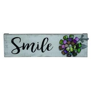 Transpac Wood  White Spring Smile Metal Embellished Wall Art