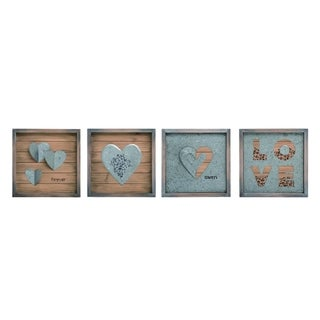 Transpac Wood  Multicolor Valentines Day Metal Embellished Block Decor Set of 4