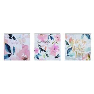 Transpac Wood  Multicolor Spring Floral Word Block Decor Set of 3