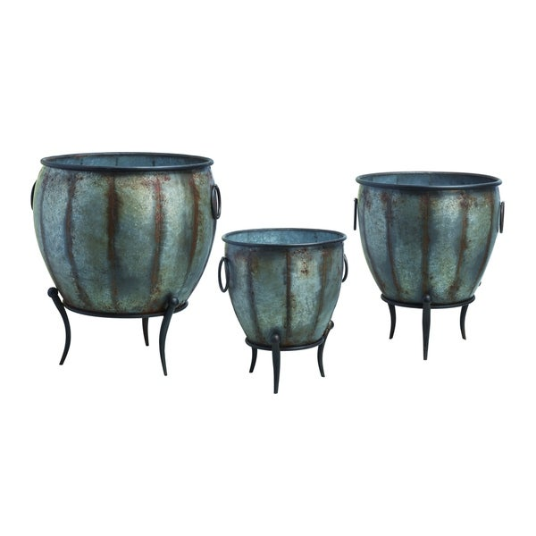 Transpac Metal Silver Spring Rustic Oblong Standing Containers Set of 3