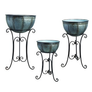 Transpac Metal  Silver Spring Rustic Round Standing Containers Set of 3