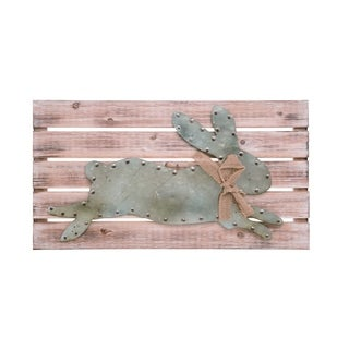 Transpac Wood  Brown Easter Rustic Wall Art with Metal Bunny