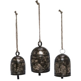 Transpac Metal  Pewter Spring Weathered Rustic Bells Set of 3