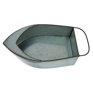 Transpac Metal  Silver Spring Lake Life Boat Container