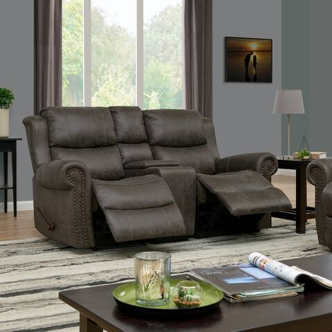 Copper Grove Wels 2-seat Rolled Arm Recliner Loveseat with Power Storage Console