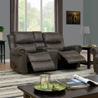 ProLounger 2 Seat Rolled Arm Recliner Loveseat with Power Storage Console