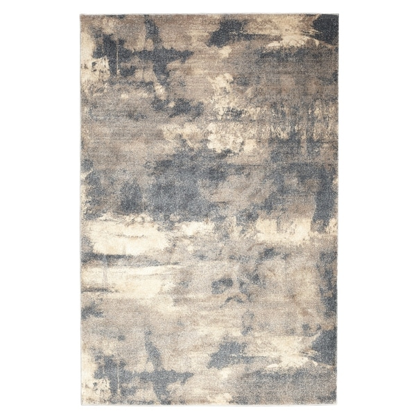 Soft Plush Abstract Grey / Brown / Blue Rug - Rectangle