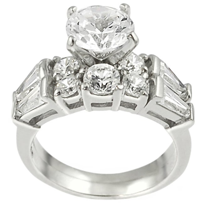 Journee Collection Sterling Silver Round-cut CZ with Bexel-set Baguettes Bridal and Engagement Ring S