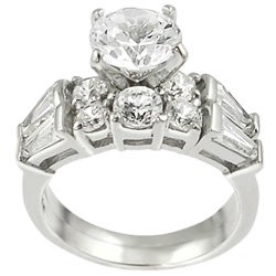 Journee Collection Sterling Silver Round-cut CZ with Bexel-set Baguettes Bridal and Engagement Ring