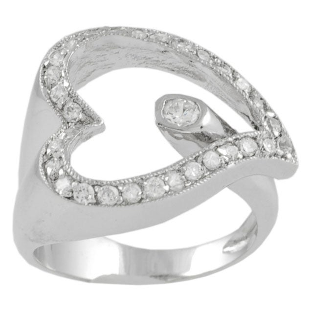 Journee Collection  Sterling Silver Wrap Style Heart CZ Ring