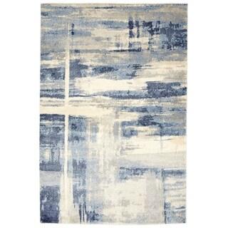 Soft Plush Abstract Light Grey / Blue Rug - Rectangle