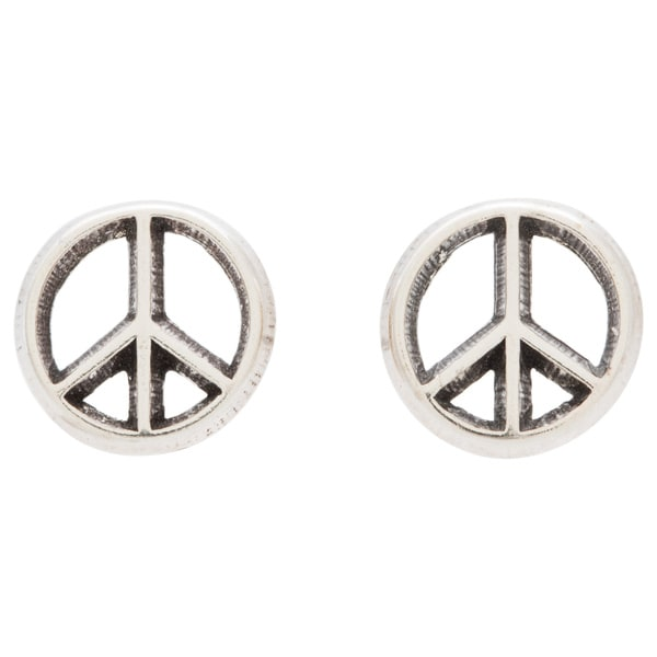 sign silver pin sterling earrings stud peace