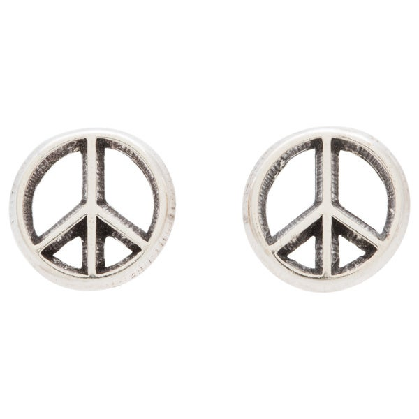 product gold stud b in peace orospot sign post com earrings puffed