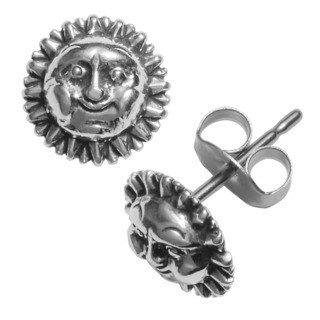 Journee Collection Sterling Silver Smiling Sun Stud Earrings
