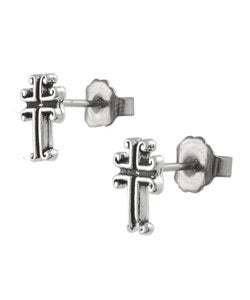 Journee Collection Sterling Silver Antique-style Cross Stud Earrings
