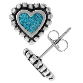 Journee Collection Sterling Silver Created Turquoise Heart Stud Earrings