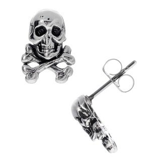 Journee Collection Sterling Silver Skull and Crossbones Stud Earrings