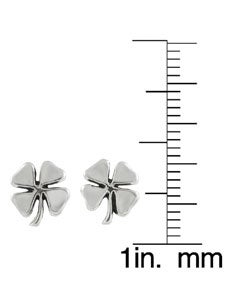 Journee Collection Sterling Silver Four-Leaf Clover Stud Earrings - Thumbnail 2