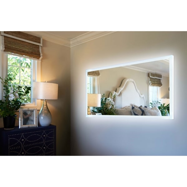 """Innoci-USA Hera Rectangle LED Wall Mount Lighted Vanity Mirror Featuring Dual Color and Smart Touch Control 48""""W x 24""""H"""