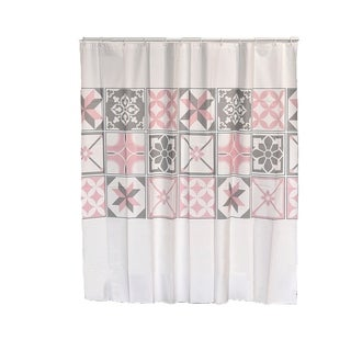 Evideco Bastide Collection Printed Peva Liner Shower Curtain Plastic 71x71 Inch