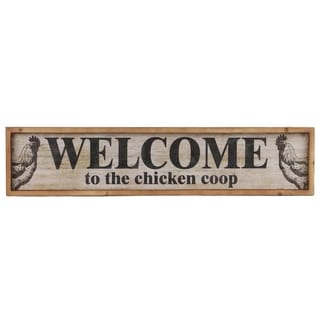 "Wood Rectangle Wall Decor with ""Welcome"", Distressed White Finish"