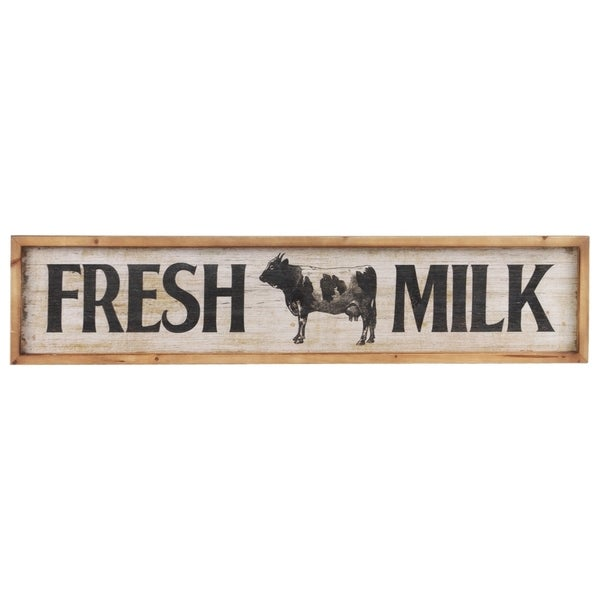 "Wood Rectangle Wall Decor with Printed ""Fresh Milk"", Distressed White Finish"