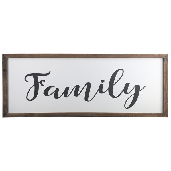 "UTC55113: Wood Rectangle Wall Art with Cursive Writing ""FAMILY"" and Metal Back Hooks Painted Finish White"