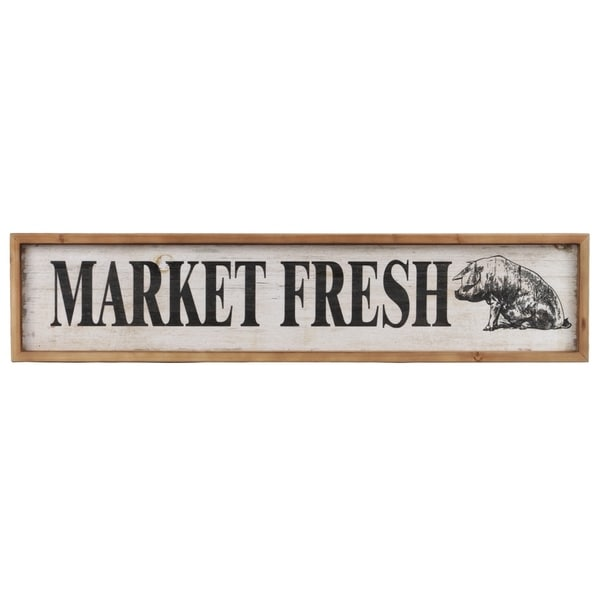 """Wood Rectangle Wall Decor with """"Market Fresh"""",Distressed White Finish"""