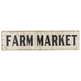 "UTC59400: Wood Rectangle Wall Art with ""Farm Market"" Writing Design and 2 Metal Back Hangers Distressed Finish Beige"