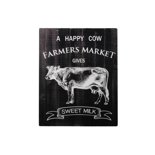 """Rectangle Wood Wall Art with Printed """"A HAPPY COW FARMERS MARKET"""" Writing, Gloss Painted Black Finish"""