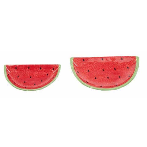 Transpac Dolomite Red Spring Watermelon Plates Set of 2