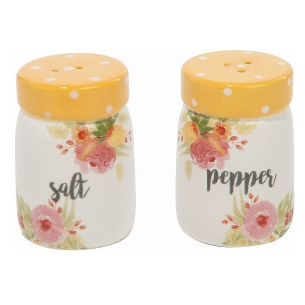 Transpac Dolomite Yellow Spring Floral Salt and Pepper Shakers Set of 2. Opens flyout.