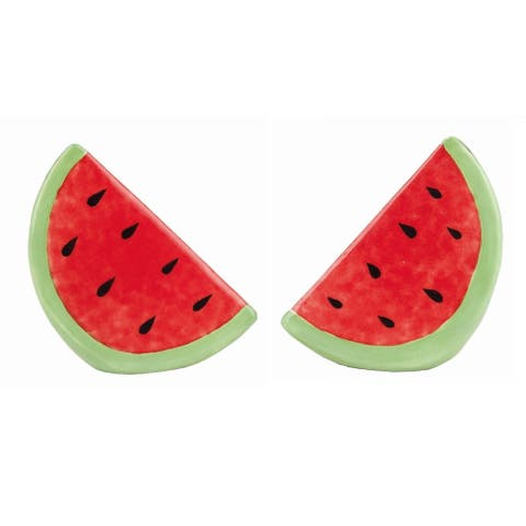 Transpac Dolomite Red Spring Bright Watermelon Satl and Pepper Shakers Set of 2