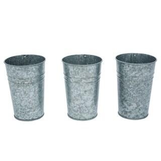 Transpac Metal  Silver Spring Utensil Holder Cups Set of 3